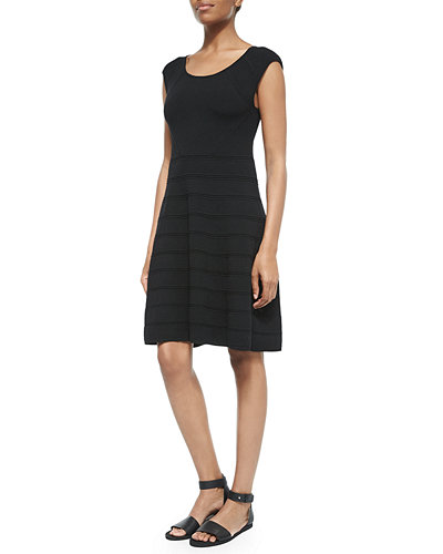 Textured-Stripe Stretch Jersey Dress