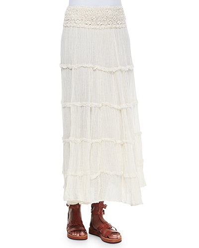 Lace Waist Tiered Maxi Skirt
