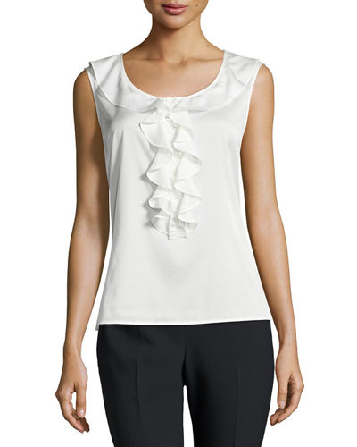 Stretch-Silk Ruffled Top