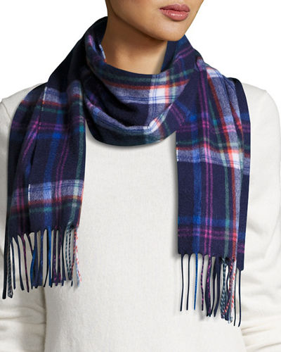 Retro-Plaid Print Cashmere Scarf
