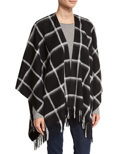 Wool Grid-Print Ruana Wrap