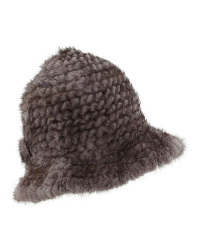 Mink Fur Structured Bucket Hat