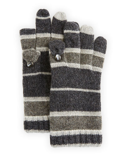 Striped Cashmere Tech Gloves, Dark Bordeaux/Blue