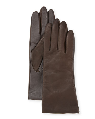 Cashmere-Lined Leather Tech Gloves, Brown