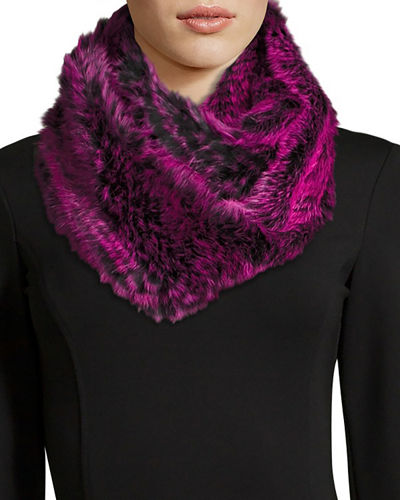 Rabbit Fur Infinity Scarf, Black/Heather Gray