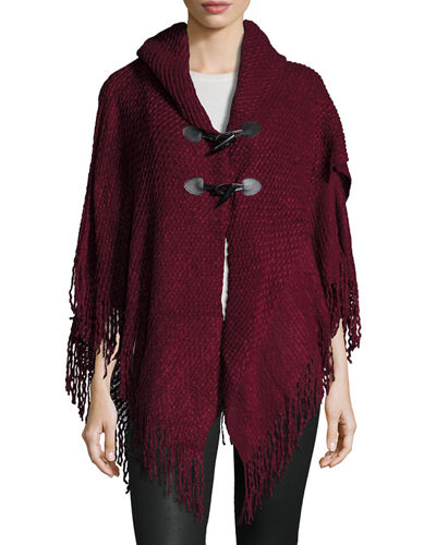 Fringed Knit Toggle-Front Cape
