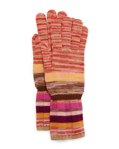 Striped Space-Dye Knit Gloves