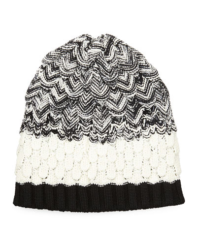 Scalloped Knit Wool Beanie Hat