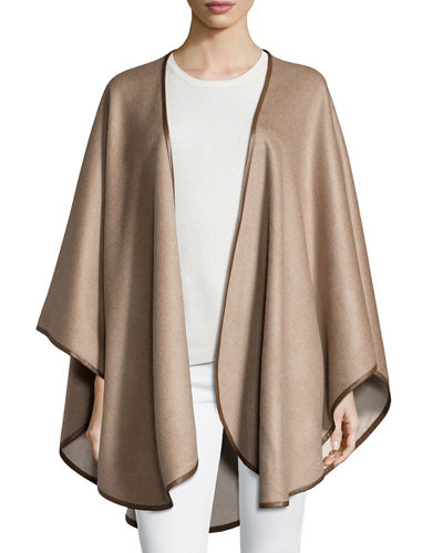 Double Face Cashmere Reversible Cape w/Leather Trim