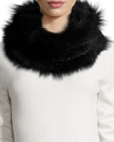 Knitted Fox & Rabbit Fur Cowl Collar