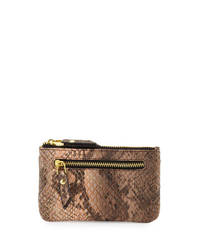 Snake-Embossed Faux-Leather Card Case