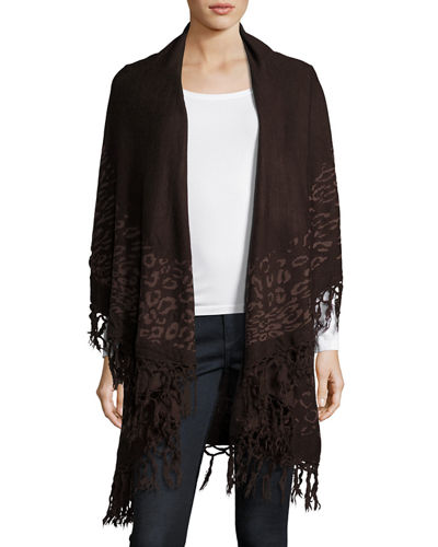 Animal Print Fringe Trim Shawl