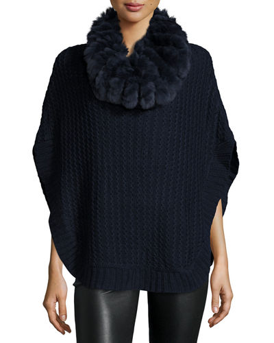 Fur-Trimmed Knit Poncho