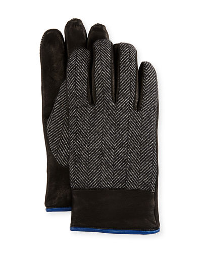 Herringbone & Leather Gloves