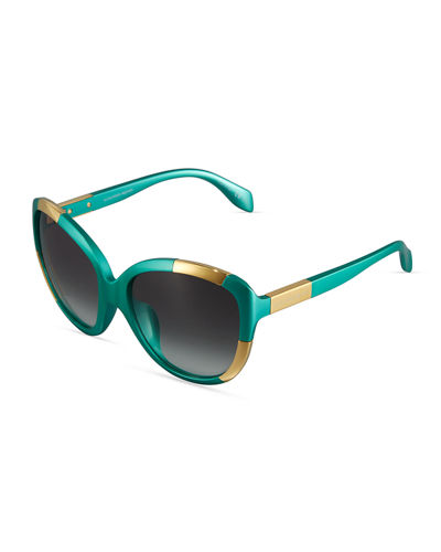 Oversized Two-Tone Plastic Sunglasses