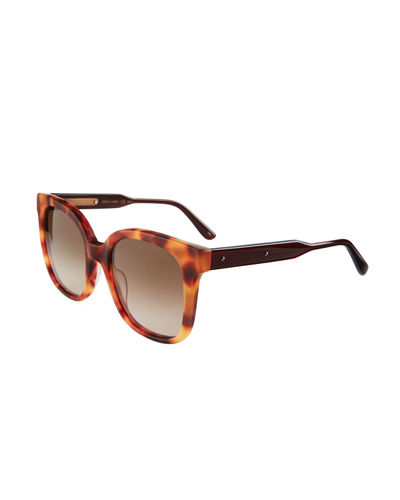 Two-Tone Square Havana Plastic Sunglasses