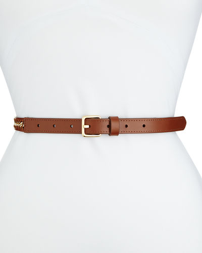 Skinny Leather Belt w/ Chain Inset