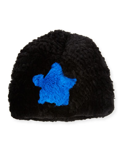 Star Rabbit Fur Beanie