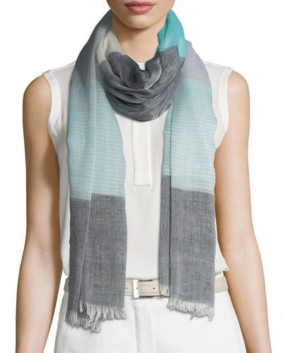 Sheer Striped Fringe Scarf