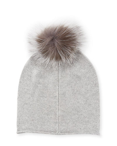 Cashmere Fox Fur Pompom Hat, Black