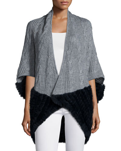 Knitted Cocoon Cardigan w/Rabbit-Fur-Trim