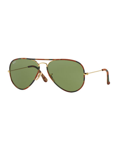Camo-Print Aviator Sunglasses