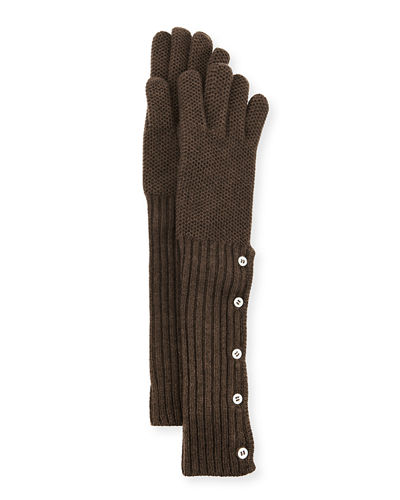 Cashmere Long Button-Up Gloves
