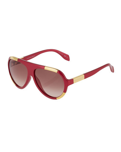 Two-Tone Plastic Aviator Sunglasses