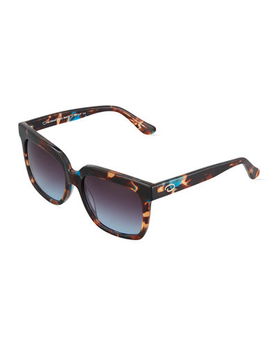 Duo Tone Square Plastic Sunglasses