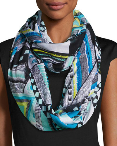 Geometric-Print Eternity Scarf
