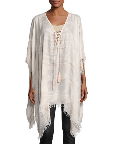 Space-Dye Striped Lace-Up Poncho