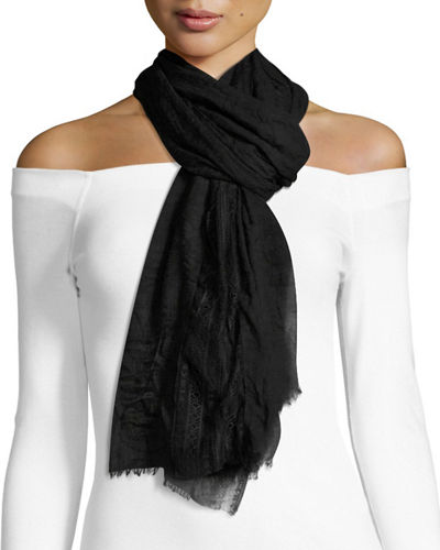 Lace-Insert Crinkled Scarf