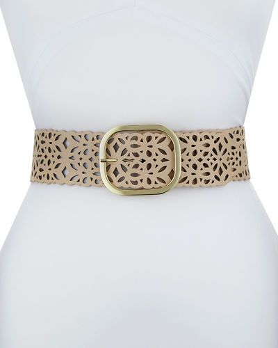 Wide Laser-Cut Faux-Suede Belt