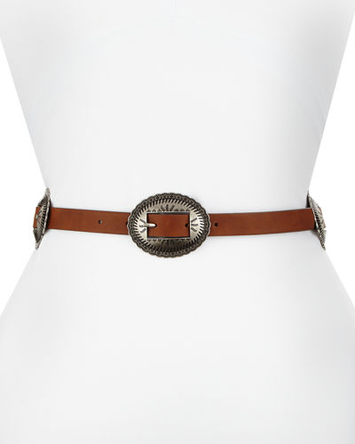 18mm Skinny Faux-Leather Concho Belt