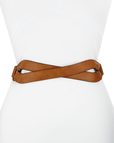 Crossed-Front Faux-Leather Belt