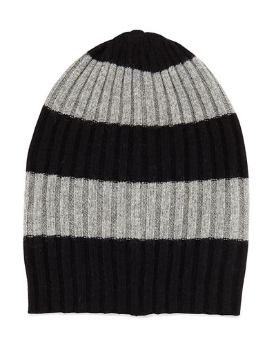 Men's Rugby-Stripe Ribbed Beanie Hat