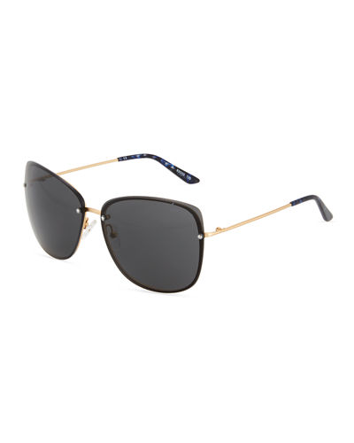 Square Plastic/Metal Combo Sunglasses