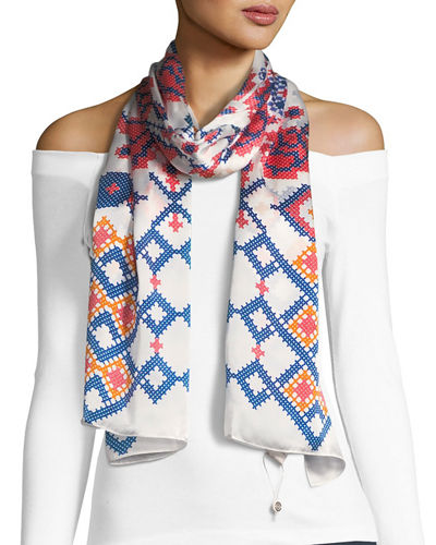 Cross-Stitch Print Oblong Scarf