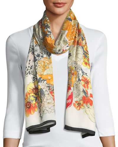 Illustrated Floral-Print Oblong Scarf