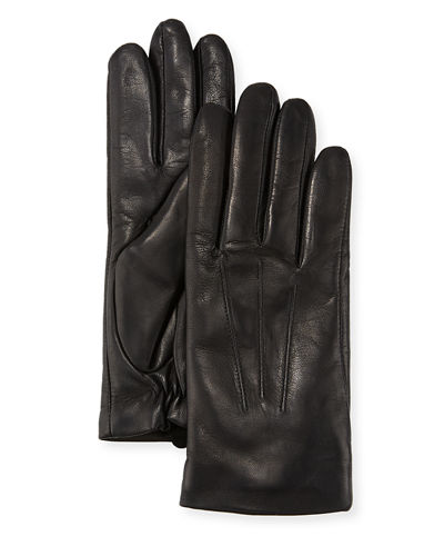 Three-Point Leather Gloves w/ Faux-Fur Lining