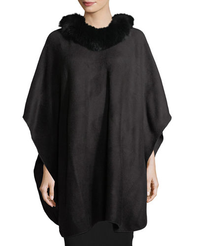Fur-Trim Knit Poncho