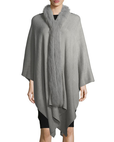 Fur-Trim Knit Serape Wrap