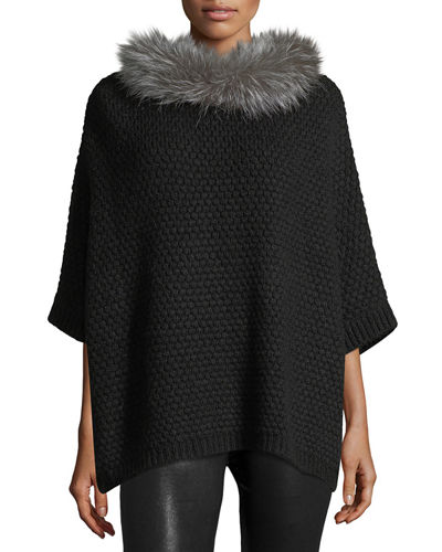 Waffle-Knit Fur-Trim Cocoon Sweater