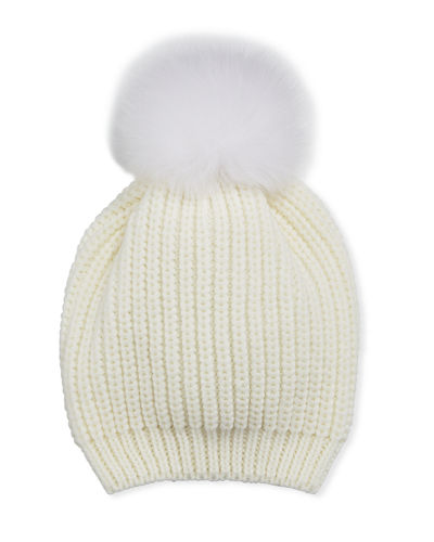 Fur-Pompom Knit Hat