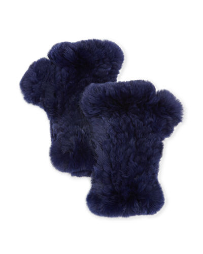 Fur Knitted Fingerless Gloves