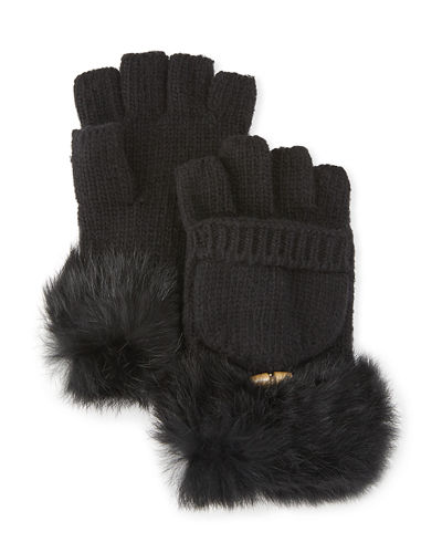 Fur-Trim Popover Fingerless Gloves