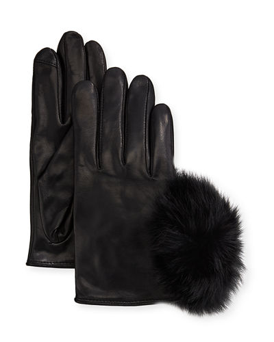 Metisse Leather Fur Pompom Short Smart Gloves