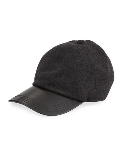 Cashmere and Leather Baseball Hat