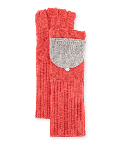 Cashmere Pop-Top Two-Tone Gloves