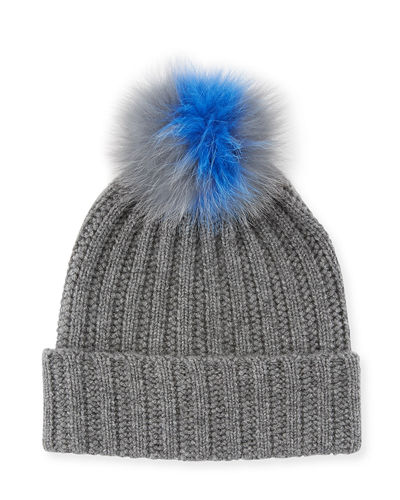 Cashmere Rib Knit Beanie with Fox Fur Pompom